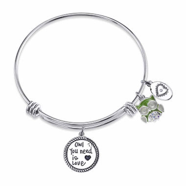 jcpenney.com | Footnotes Womens White Crystal Silver Over Brass Bangle Bracelet
