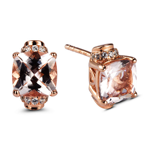 Cushion Pink Morganite 14K Gold Over Silver Stud Earrings