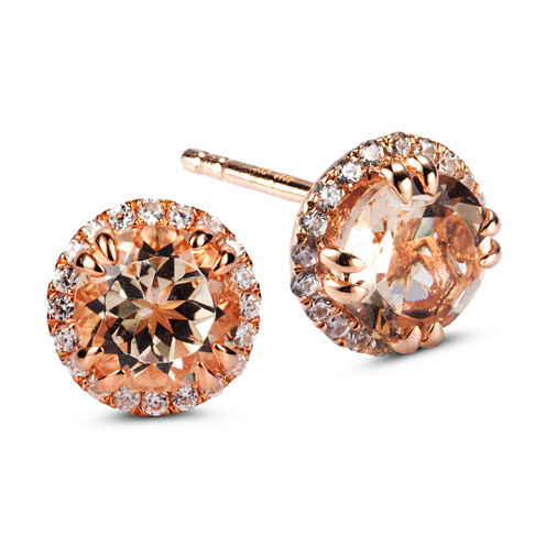 Round Pink Morganite 14K Gold Over Silver Stud Earrings