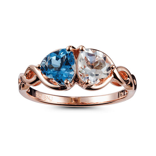Womens Blue Topaz Gold Over Silver Cocktail Ring