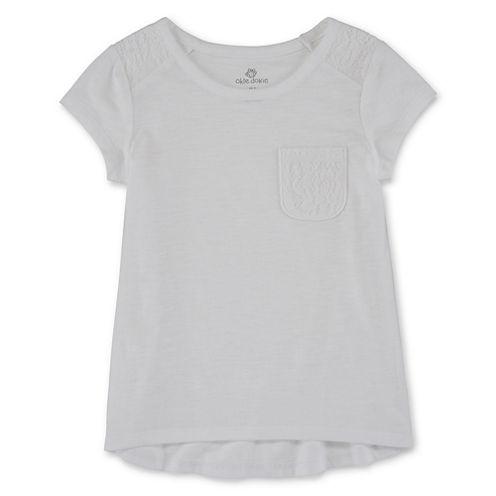 Okie Dokie Girls Short Sleeve Lace Tee-Preschool