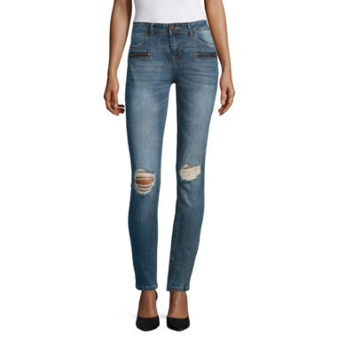 jcpenney.com | Vanilla Star Destructed Zipper Front Motto Skinny Jeans-Juniors