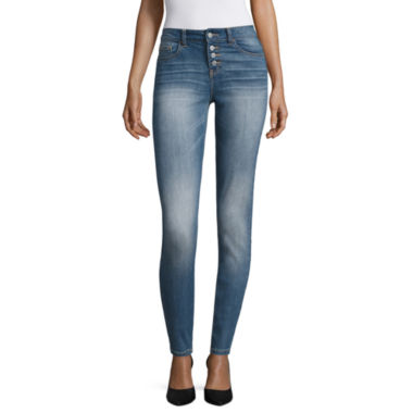 jcpenney.com | Vanilla Star Exposed Button Fly Skinny Jeans-Juniors