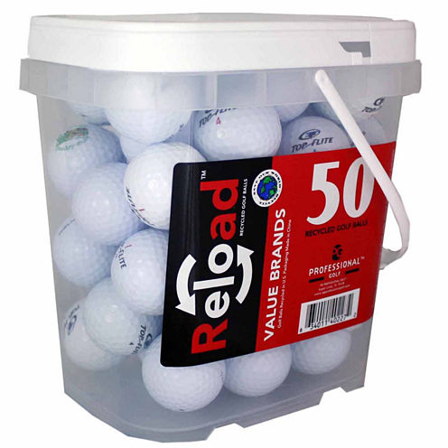 50 Ball Bucket of Topflite Mix Model Recycled Golf Balls.