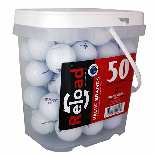 50 Ball Bucket of Recycled Golf Balls Assorted Brands and Models.