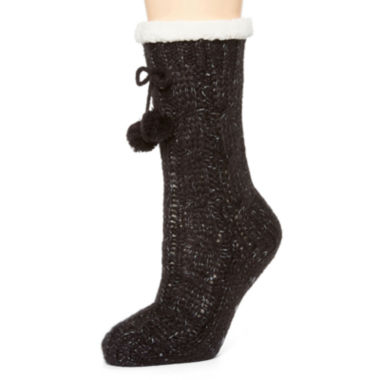 jcpenney.com | Mixit Cable Slipper Socks with Pom Pom