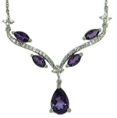 jcpenney.com | Genuine Amethyst and Lab-Created White Sapphire Sterling Silver Y Necklace