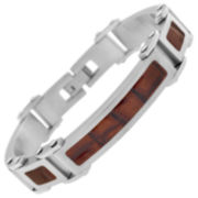 Stainless Steel & Brown Leather Mens Bracelet