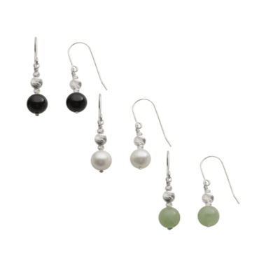 jcpenney.com | Gemstone & Cultured Freshwater Pearl 3-pr. Drop Earring Set