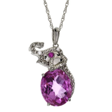 jcpenney.com | Lab-Created Pink Sapphire, Ruby & White Sapphire Elephant Pendant Necklace