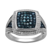 1 CT. T.W. Genuine White & Irradiated Blue Diamond Cocktail Ring