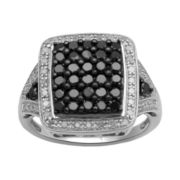 1 CT. T.W. Genuine White & Color-Enhanced Black Diamond Cocktail Ring
