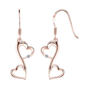 jcpenney.com | Love Grows™ 14K Rose Gold Plated Diamond-Accent Double-Heart Drop Earrings