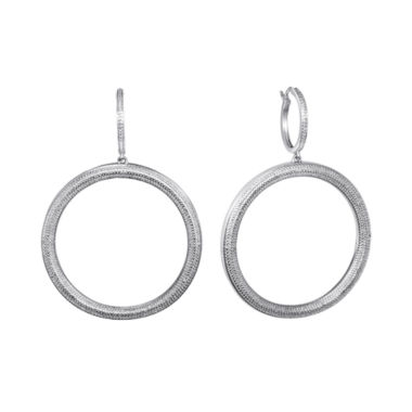 jcpenney.com | Diamond Addiction Pure Silver-Plated 1/10 CT. T.W. Diamond Hoop Earrings