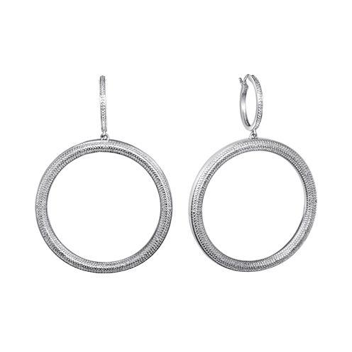 Diamond Addiction Pure Silver-Plated 1/10 CT. T.W. Diamond Hoop Earrings