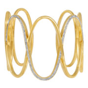 Diamond Addiction 14K Gold-Plated 1/10 CT. T.W. Diamond Circles Cuff Bracelet