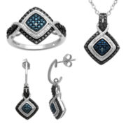 1/10 CT. T.W. Genuine Color-Enhanced Diamond 3-pc. Jewelry Set
