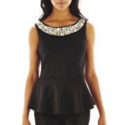 Bisou Bisou® Sleeveless Jeweled Peplum Top
