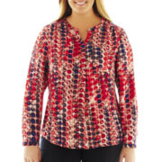 Liz Claiborne Long-Sleeve Woven Print Top with Cami - Plus