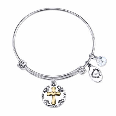 jcpenney.com | Footnotes Womens He Is Love Cross Expandable Brass Bangle Bracelet