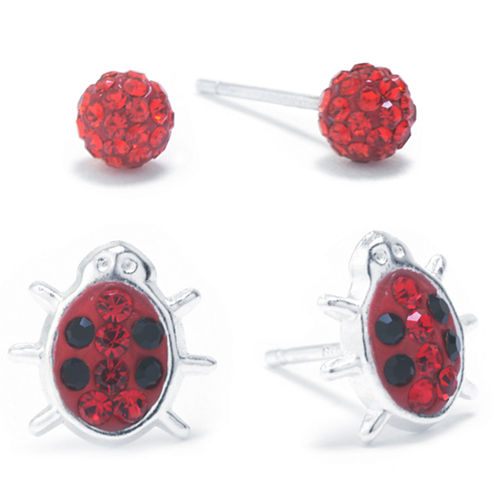 Silver Treasures 2-pc. Red Crystal Sterling Silver Earring Sets