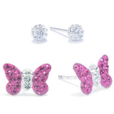 jcpenney.com | Silver Treasures 2-pc. Pink Crystal Sterling Silver Earring Sets