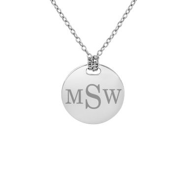 jcpenney.com | Personalized Sterling Silver 16mm Round Monogram Pendant Necklace