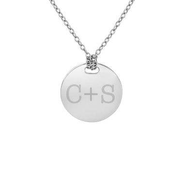jcpenney.com | Personalized Sterling Silver 16mm Round Couple's Initial Pendant Necklace