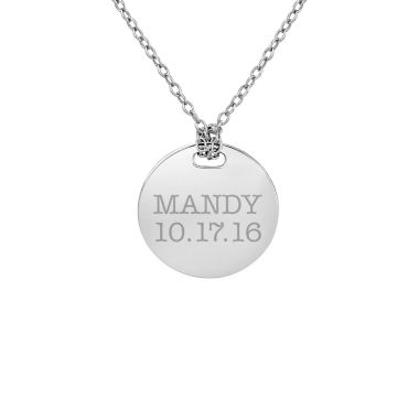 jcpenney.com | Personalized Sterling Silver 16mm Round Name & Date Pendant Necklace