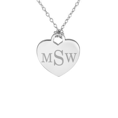 jcpenney.com | Personalized Sterling Silver Monogram Heart Pendant Necklace