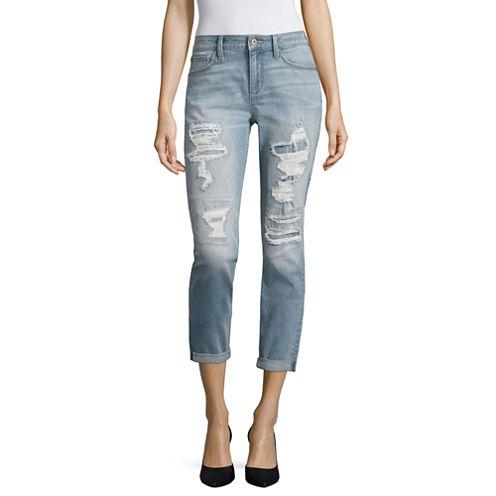 Arizona Destructed Boyfreind Jeans - Juniors