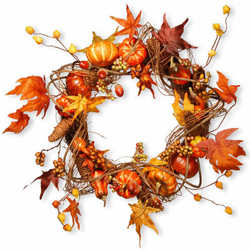 National Tree Co. 21 Inch Maple Leaves And Pumpkin Wreath