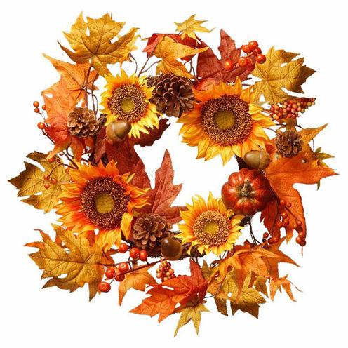 National Tree Co. 22 Inch Sunflower Pumpkin Wreath