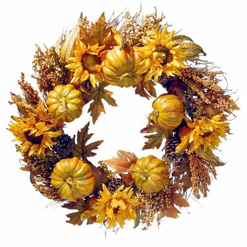National Tree Co. 30 Inch Pumpkin And Sunflowers Wreath