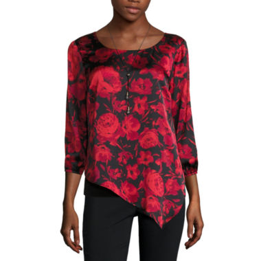 jcpenney.com | Alyx Long Sleeve Scoop Neck Charmeuse Blouse