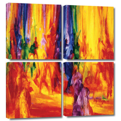 Brushstone Dance I 4 Pc Square Gallery Wrapped Canvas Wall Art