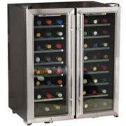 Wine Enthusiast® 48-Bottle Silent Dual Zone Wine Refrigerator + Double Door