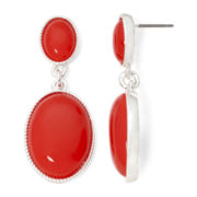 Liz Claiborne Red Stone Double Drop Earrings