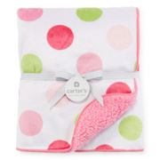 Carter's® Pink Green Dot Sherpa Blanket - Girls One Size