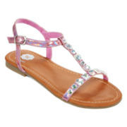 Total Girl® Jewel Girls Strap Sandals - Little Kids