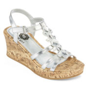 Total Girl® Willa Girls Wedge Sandals - Little Kids/Big Kids