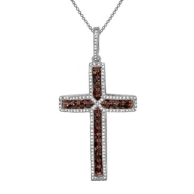 jcpenney.com | LIMITED QUANTITIES 3/4 CT. T.W. White & Color-Enhanced Cognac Diamond Cross Necklace