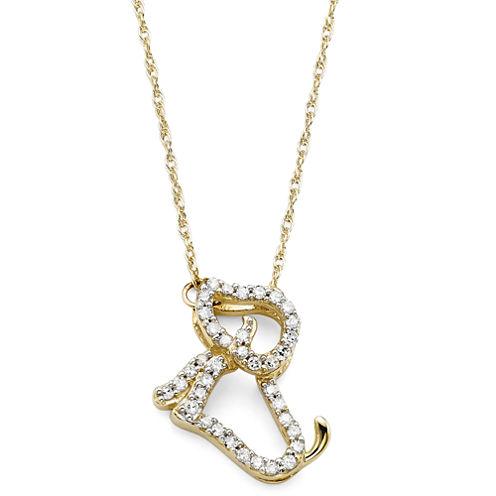 1/10 CT. T.W. Diamond 10K Yellow Gold Dog Pendant Necklace