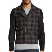 WD.NY Plaid Wool-Look Moto Jacket