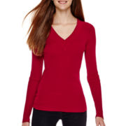 Love by Design Long-Sleeve Ribbed V-Neck Sweater