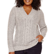 St. John's Bay® Long-Sleeve Crossover V-Neck Nep Sweater - Plus