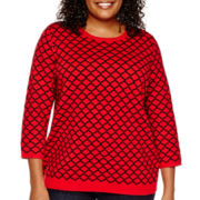 Liz Claiborne® 3/4-Sleeve Lattice Sweater - Plus