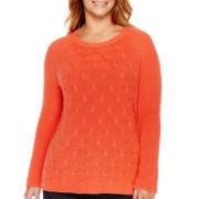 Liz Claiborne® Long-Sleeve Shaker Stitch Sweater - Plus