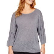 Liz Claiborne® Metallic Dolman-Sleeve Slub Sweater - Plus