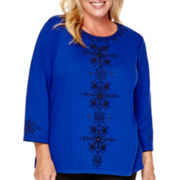 Alfred Dunner® Madrid 3/4-Sleeve Center Soutaché Top - Plus